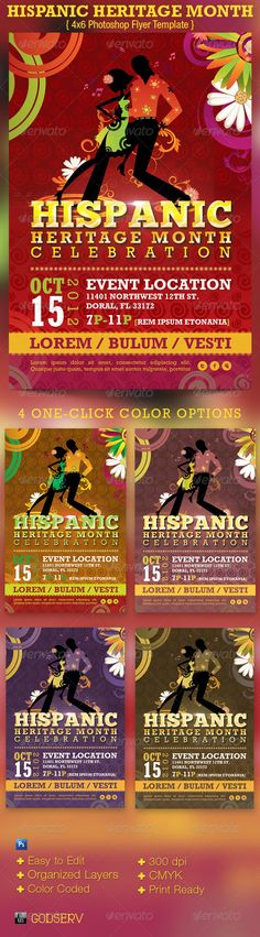 Hispanic Heritage Month Event Flyer Template -$6.00