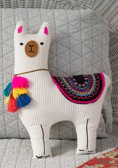 This Natural Life llama happy pillow is embellished with felt patches, embroidery and sequins. Shop Natural Life for boho decorative pillows now! Diy Pillows, Decorative Pillows, Throw Pillows, Cushions, Llama Pillow, Sewing Toys, Home And Deco, Natural Life, Handmade Toys