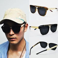 Lux Chic Funky Metal Contrast Temple Mens Sunglasses By Guylook.com