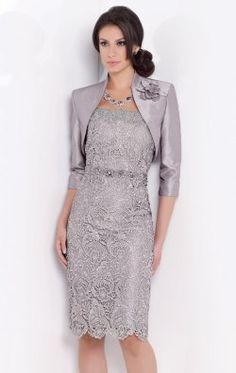 Scalloped Lace Dress by Social Occasions by Mon Cheri 115851