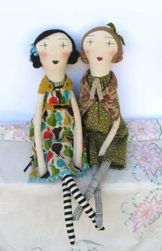 Delilah: Handmade Rag Doll - 24 Inch One-of-a-Kind Cloth Doll - Mustard Teal Apples Pears. $120.00, via Etsy.