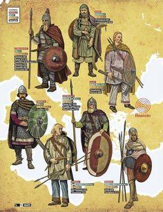 Varios guerreros bárbaros de la etapa inmediatamente posterior a la caída del imperio romano