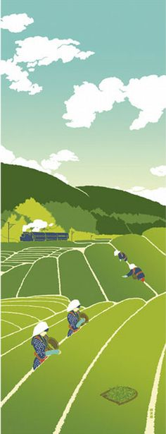 Japanese Tenugui Cotton Fabric, Green Tea Field & Train, Tea Picking Girl, Hand Dyed Fabric, Wall Decor, Spring Art Wall, Home Decor, h318