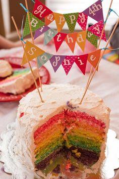 Rainbow cake and bunting