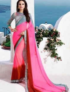 Party Wear Georgette Pink Lace Border Work Saree