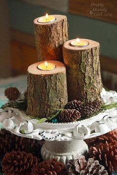 DIY Log Candles. Fall Table decoration.