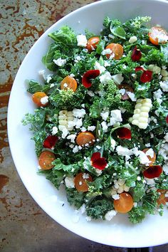"Kale Salad with Charred Corn and Feta  Sounds good...a combo I never would have thought of but could be amazing.  Also the only ""cooking"" involve would be the corn. A good start for me!"
