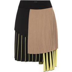 Alexis Mabille Pleated Asymmetrical Skirt ($745) ❤ liked on Polyvore featuring skirts, elastic waist mini skirt, pleated skirt, beige skirt, alexis mabille and mini skirt