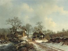 Frederik Marinus Kruseman - Winterlandschap met een besneeuwde landweg en bevroren riviertje