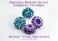 Triangle Beaded Rivoli Bezel Earring Tutorial, Rulla Bezeled Earring Pattern, PDF Two Hole Beading Earring Instructions O Beads, Seed Beads, Beaded Earrings, Beaded Jewelry, Beading Techniques, Earring Tutorial, Beading Supplies, Stones And Crystals, Beading Patterns