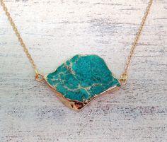⋙  Meeresfarben Achat  ⋘  Anhänger vergoldet Kette von ☾●  MiMaMeise ●☽ auf DaWanda.com