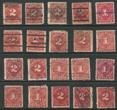 US collection of 20 postage due  stamps  J62 1894 early 1900's1¢, 2¢ precancel