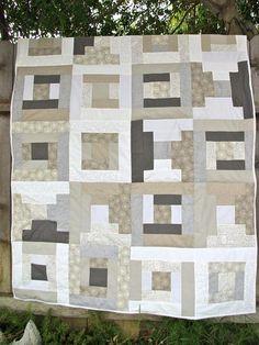 Grey Quilt.  Modern log cabin pattern.