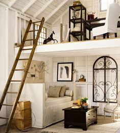 Pottery barn has great ideas for small spaces and lofts :-) White Wood Paneling, Interior Design, Barn Loft, House, Small Spaces, Home, Interior, Loft Spaces, Home Decor