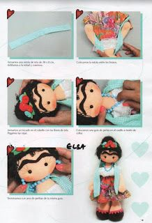 COMO HACER MUÑECA FRIDA KAHLO Sewing Crafts, Sewing Projects, Doll Patterns Free, Mexican Crafts, Mexican Art, Baby Bug, Sewing Dolls, Felt Diy, Soft Dolls