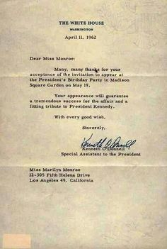 A thank you letter to Marilyn from the White House - April 11, 1962