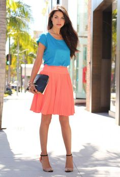 blue and pink color blocking