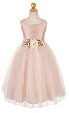 Blush Flower Girl Dress! Come to Davison Bridal in Davison, MI for all of your wedding day and special event needs! Call (810) 658-6070 or visit our website www.davisonbridal.com for more information!