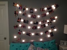 picture wall! I did this in my room and was very easy to do! Just find some lights you like, some command clear hooks, and print your favorite pictures!!!!!!