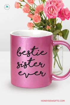 Searching for a sweet appreciation for your sister? This sister coffee mug has a gorgeous metallic finish, making it a great coffee mug and a beautiful ceramic decor. If you and your sister are best friends, then the more she will appreciate this. Your sister can use it as a pen holder, table accent, or pot for her indoor plant at home or in the office. It is one of the best multi-purpose work coffee mugs for women that you can buy under 20 bucks. Sisters Coffee, Swap Party, Pencil Cup, Kitchen Humor, Coffee Milk, Kitchen Dishes, Metallic Pink, Novelty Items, Box Signs