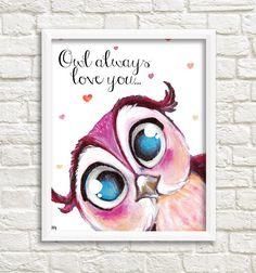 DIGITAL Print kids art OWL Owl always love you by SandraArtStudio