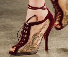 Christian Louboutin x Marchesa Fall 2013 Embroidered Mesh Booties