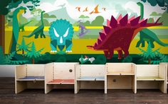 dinosaurs wallpaper for kids boy room, jurassic world panoramic