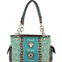 """Crystal Cross """"Faith Hope Love"""" Concealed Carry Handbag – Handbag-Addict.com"""