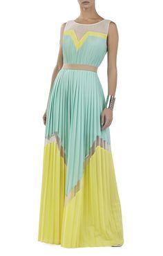 Kathrine Pleated Color-Blocked Long Dress   BCBG