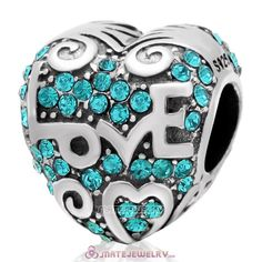 925 Sterling Silver Heart with Love Charm Blue Zircon Australian Crystal Bead