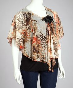 Rust Leopard Layered Cape-Sleeve Top - Plus by C.O.C. #zulily #zulilyfinds
