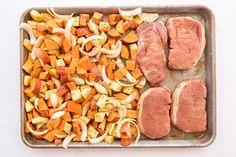 Boneless Pork Loin Chops, Pan Pork Chops, Pork Chops And Potatoes, Glazed Pork Chops, Apple Pork Chops, Sweet Potato And Apple, Sweet Potato Recipes, Sweet Potato Pizza Crust, Fall Dinner