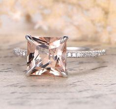 $529 Princess Morganite Engagement Ring Pave Diamond Wedding 14K White Gold 8mm