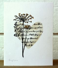 Using the Cricut, create a butterfly or heart-shaped mask with ink and text; add floral image. Nice! *