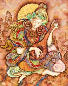 Ming Yue une carte de voeux de Fine Art par HollySierraArt sur Etsy