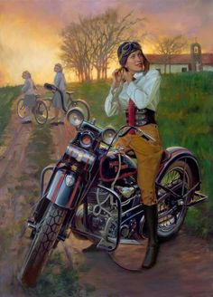 vintage harley pin up Motorcycle Posters, Motorcycle Art, Bike Art, Vintage Motorcycles, Harley Davidson Motorcycles, Art Moto, Harley Davidson Kunst, David Mann Art, Illustrations Vintage