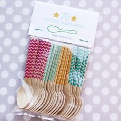 CUTE!!  Bright Chevron Ice Cream Spoons