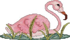 Cross Stitch Pattern Pinky the Flamingo Instant Download PdF - Modern Design - Black/White Graph and Color Graph Included