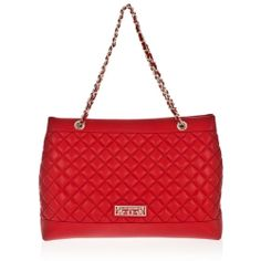LOVE MOSCHINO JC4252 Woman Large Shoulder Bag in Red Quilted Ecoleather