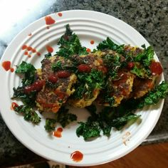 Cauliflower patties with kale and hot sauce!