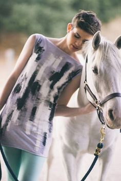Hand Painted Black and White Abstract Tee Dress by JessalinBeutler, $48.00