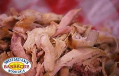 Alabama Pulled Smoked Chicken.  Brined overnight; rubbed then smoked and finished on the grill with our house-made Alabama White Gold barbecue sauce.