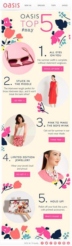 Oasis pink newsletter, email design www.datemailman.com