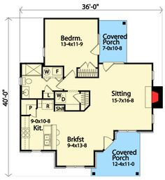 Cabin Cottage Country Ranch Traditional House Plan 45151 Level One