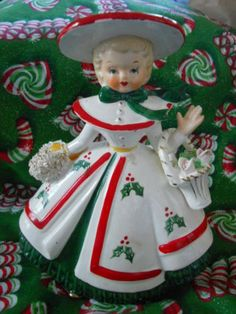 VINTAGE RELIABLE POTTERY 1956 *CHRISTMAS WOMAN* PLANTER