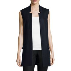 Michael Kors Collection Open-Front Boyfriend Vest (65.870 RUB) ❤ liked on Polyvore featuring outerwear, vests, navy, michael kors vest, blue vest, sleeveless waistcoat, michael kors and sleeveless vest