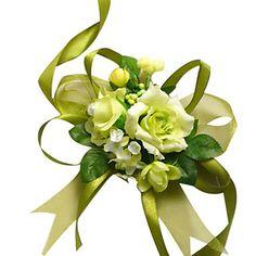 Elegant Green Silk Rose With Chiffon Decoration Wedding/ Bridal Wrist Flower
