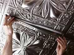 Get the look of glamour on your ceiling with unbelievably real-looking fake tin tiles. Tin Tiles, Tin Ceiling Tiles, Plafond Staff, Cigar Room, Cabinet Decor, Rv Interior, Interior Design, Ceiling Design, Ceiling Ideas