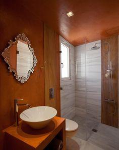 Nikolas Dorizas Architect Tel: +30.210.4514048 Address: 36 Akti Themistokleous – Marina Zeas, Piraeus 18537, Κατοικία στην Καστέλα σε τρεις δρόμους με εξωτερική πισίνα - Residence in Kastela, facing three streets, for a family of three, with an external pool Mirror, Bathroom, Furniture, Home Decor, Washroom, Decoration Home, Room Decor, Mirrors, Full Bath