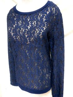 Cato EUC Plus Size Navy Blue Long Sleeve Lace Embroidered Top 22/24W #Cato #KnitTop